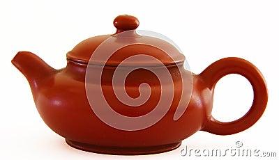 Dark-red enameled pottery