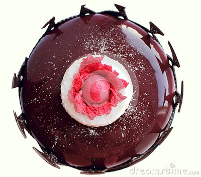Dark red floral cake with mirror glaze and chocolate border top view Stock Photo