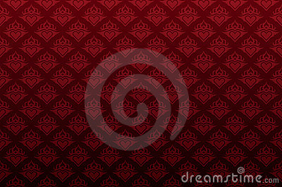 Dark red heart floral seamless wallpaper