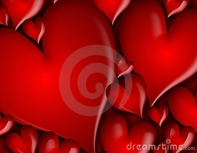 Dark Red Hearts Background Pattern