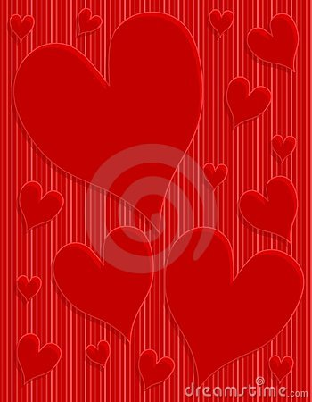 Dark Red Hearts Striped Background
