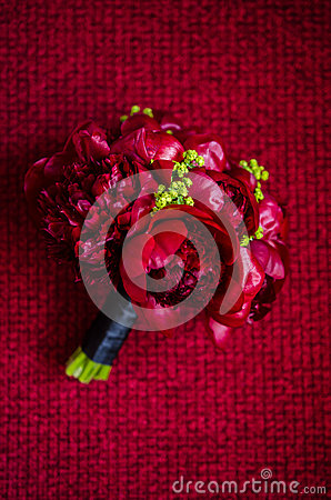 Dark red Paeonia wedding bouquet
