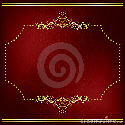 Dark red vector card with gold decor