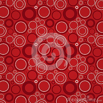 Dark red and white circles on a red background