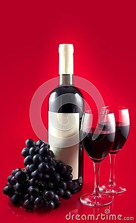 Dark red wine on red back