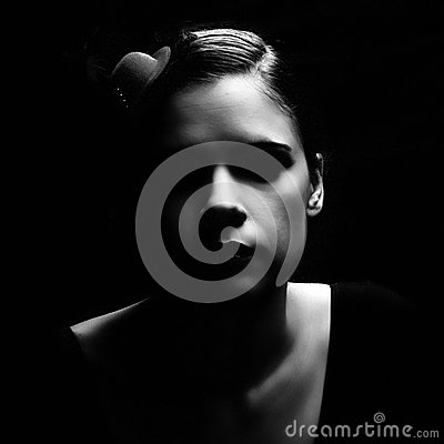 Free Dark Retro Noir Woman Portrait Stock Photography - 43956972