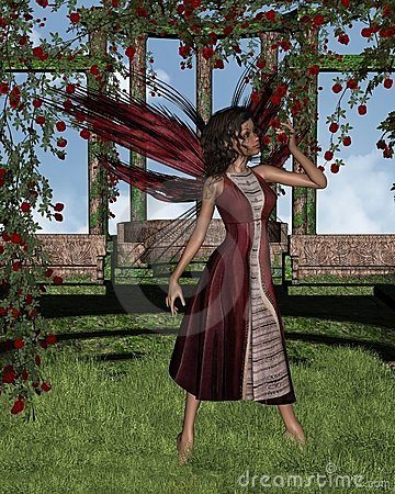 Dark Rose Fairy with Background