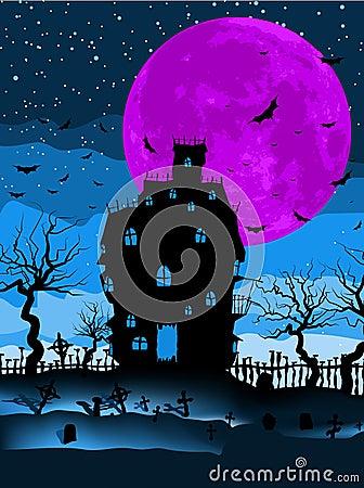 Dark scary halloween night. EPS 8