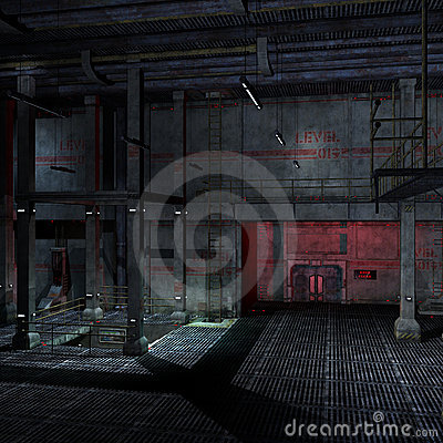 Dark and scary place in a scifi setting. 3D