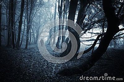Dark scene of a spooky man walking in a dark forest with blue fog