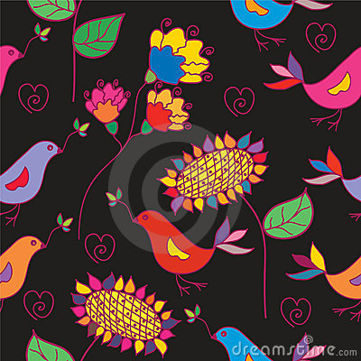 Dark seamless floral pattern with traditional bird