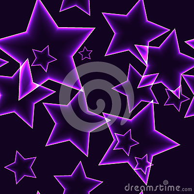 Free Dark Seamless Pattern With Purple Neon Outline Stars Stock Images - 86838624