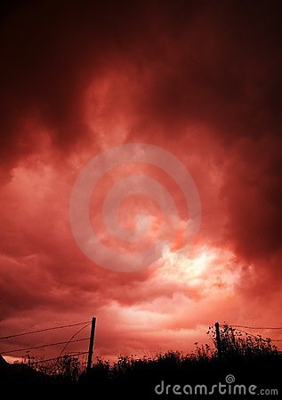 Free Dark Sky Over Open Barbed Wire Fence Royalty Free Stock Images - 14844149