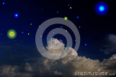 Dark sky with star and clouds