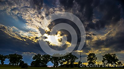 Dark sky with storm clouds during sunset