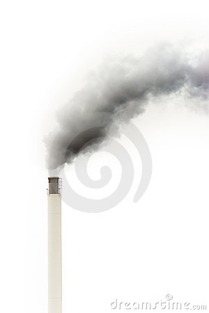 Dark smoke from a chimney