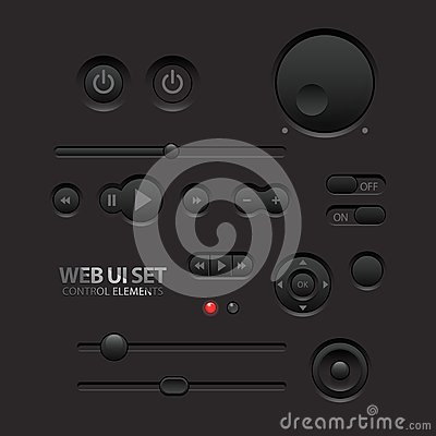 Free Dark Web UI Elements. Buttons, Switches, Bars Royalty Free Stock Images - 30500589