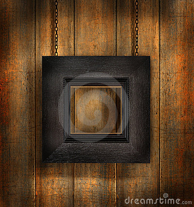 Dark wood frame against wood background