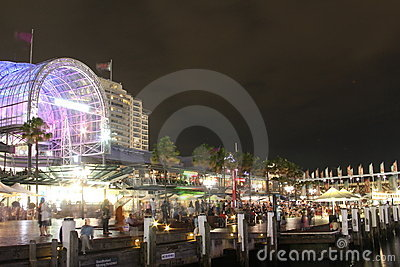 Darling Harbour on busy night