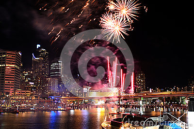 Darling Harbour Fireworks Redactionele Stock Foto
