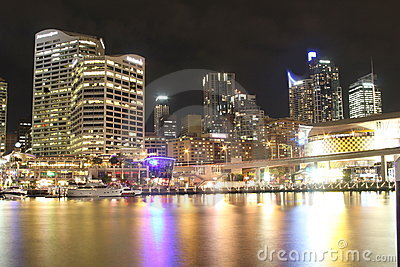 Darling Harbour cityscape at night