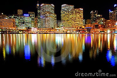Darling Harbour at Night in Sydney Editorial Photography
