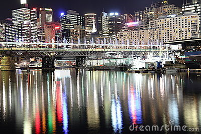 Sydney skyline water reflections at night Editorial Photo
