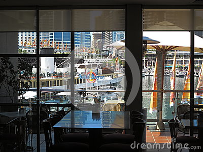 Restaurant window view Darling Harbour Editorial Photography