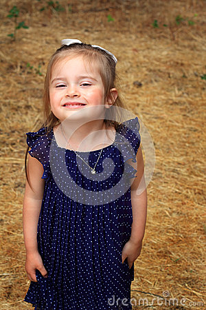 Darling Little Girl in Polka Dot dress