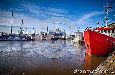 Darlowo harbour in winter