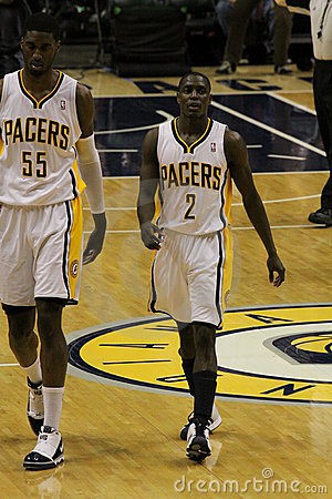 Darren Collison 2 Roy Hibbert 55 Indiana Pacers Editorial Photo