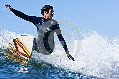 Darshan Gooch surfing in Santa Cruz, California Editorial Image