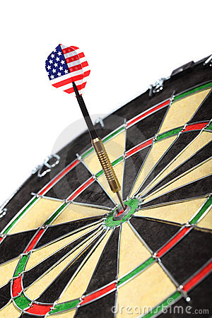 Dart with the American flag hitting a target board