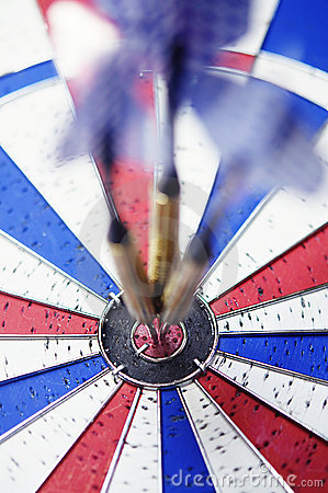 Dart board with bulls eye