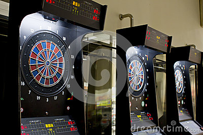 Dart boards in games area