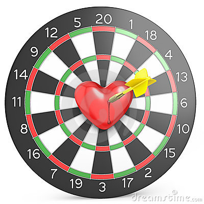Dart hit the heart in the center of datrboad
