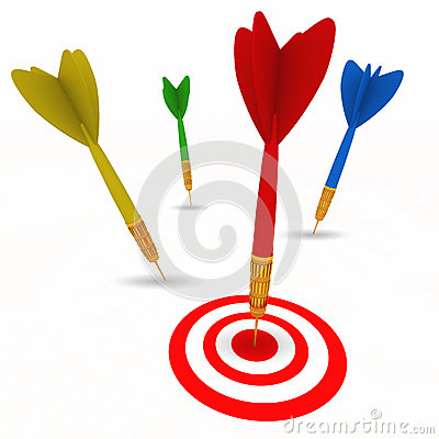 Dart hitting bullseye target successfully