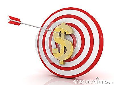 Dart of success with dollar