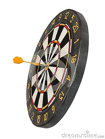 Dartboard with dart in aim