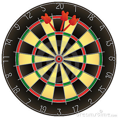 Dartboard with darts isolated