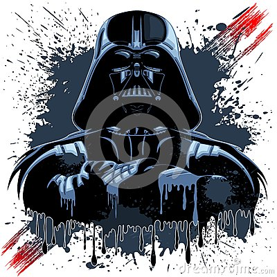 Darth Vader Mask on Dark Paint Stains Editorial Photography