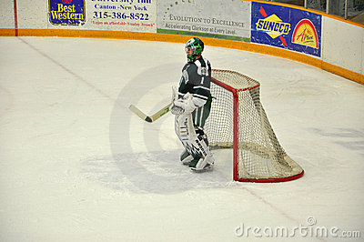 Dartmouth goalkeeper warmup in NCAA Hockey Game Editorial Photo