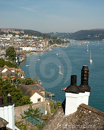 Dartmouth and River Dart in Devon, England