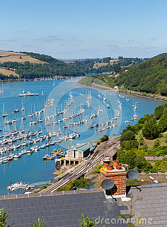 Dartmouth town and River Dart harbour Devon England