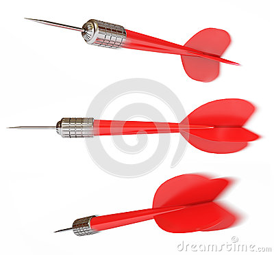 Darts from different angles in motion