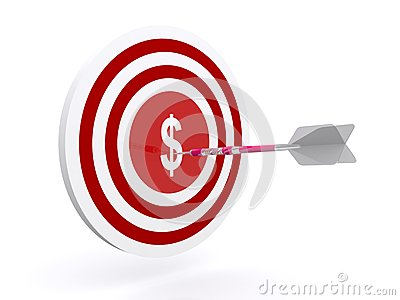 Darts on dollar target