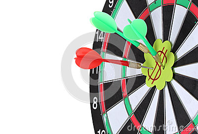 Darts with stickers depicting the life values