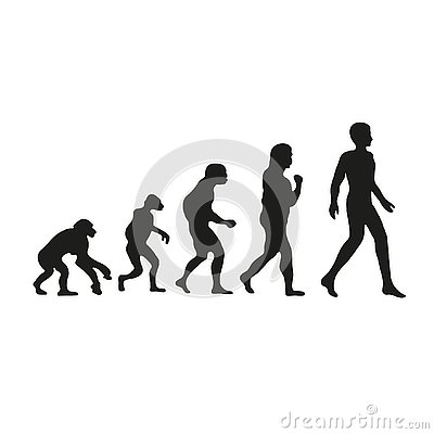 Free Darwin Evolution Of Human. From Monkey To Modern People. Royalty Free Stock Images - 129587409