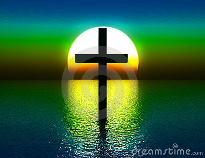 Das Kreuz im Wasser an Sonnenaufgang 4