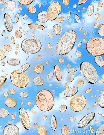 Das Regnen des Geldes prägt Himmel